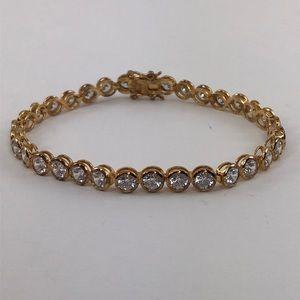 Jewelry - 925 Gold Tone CZ Diamond Wedding Tennis Bracelet